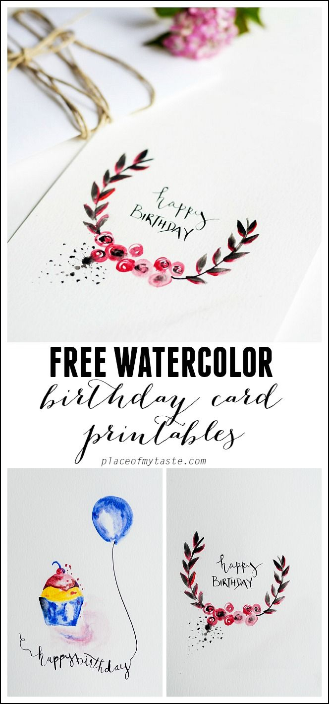 Free Watercolor Birthday Card Printables | Printables | Watercolor - Free Printable Birthday Cards For Husband