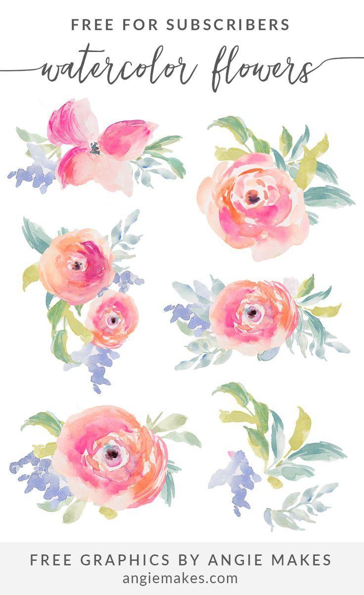 Free Watercolor Flowers Clip Art | Free Watercolor Printables - Free Printable Clip Art Flowers