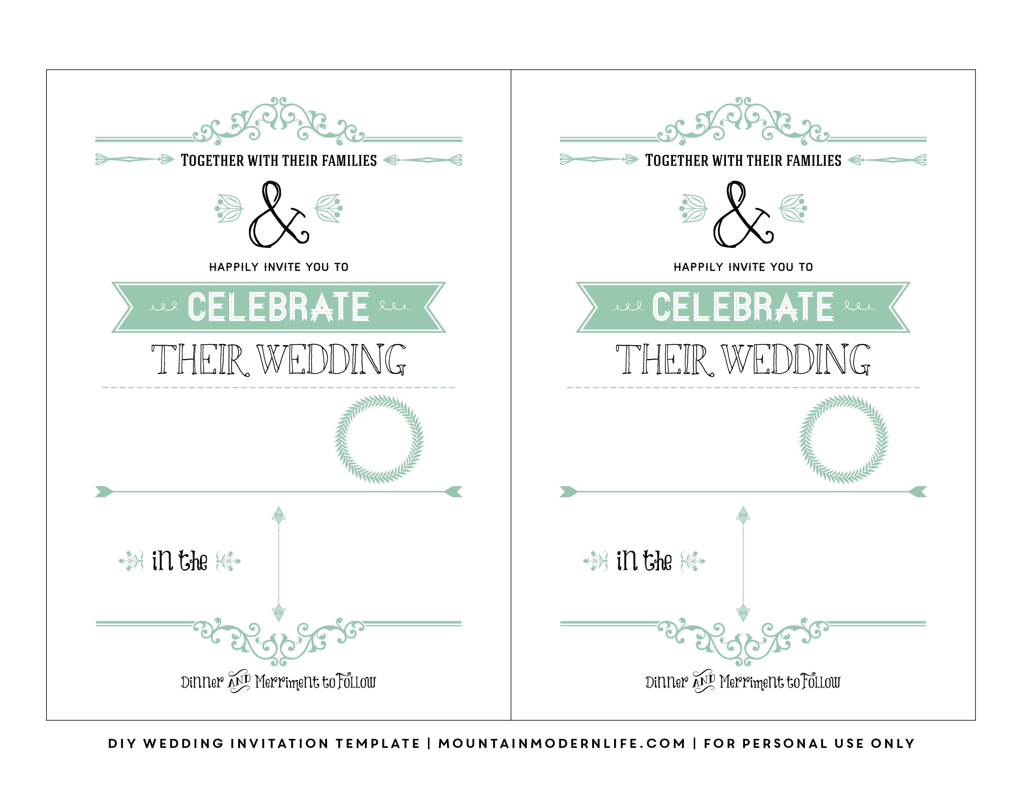 Free Wedding Invitation Template   Mountainmodernlife - Free Printable Invitations Templates