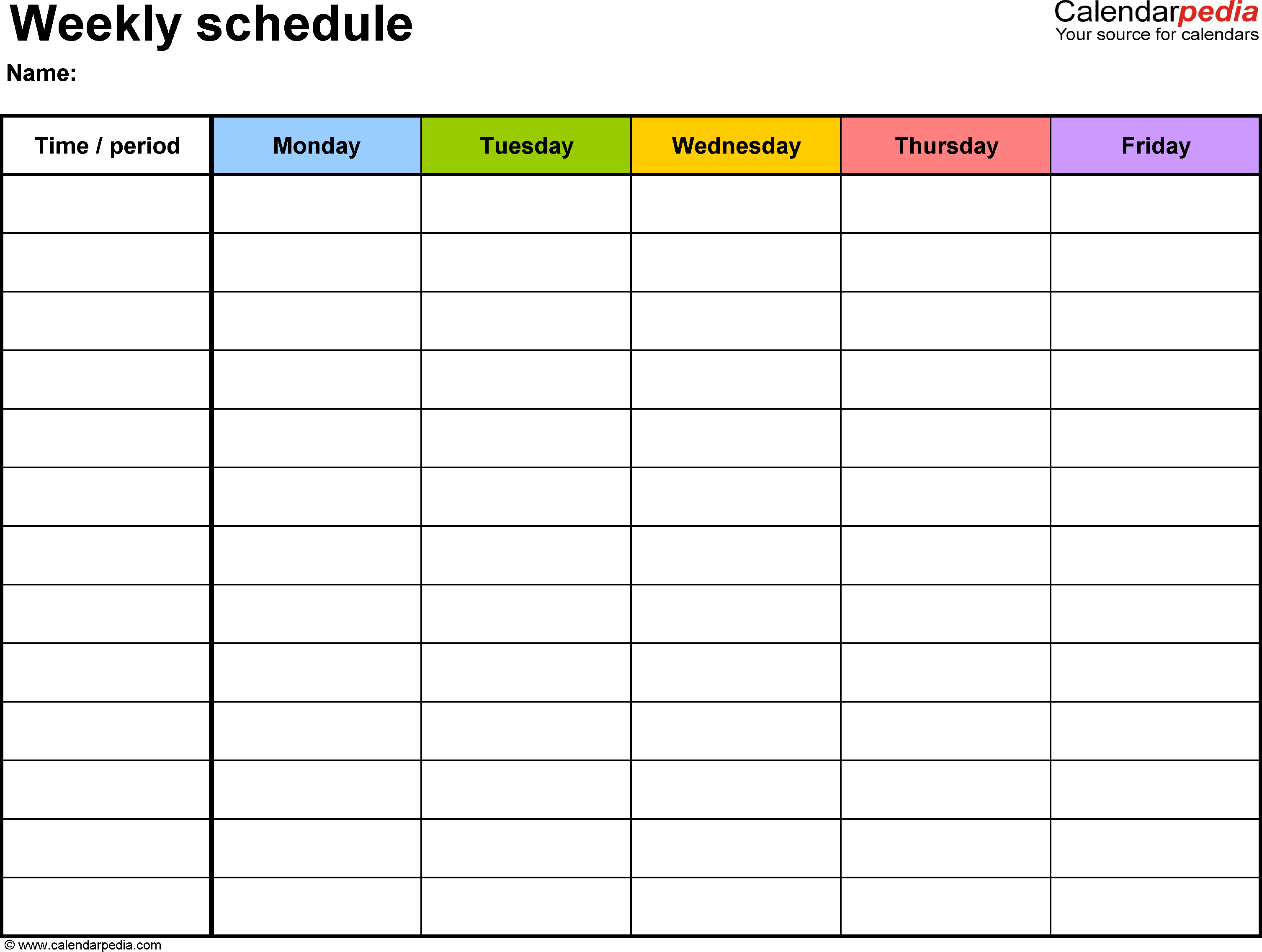 Free Weekly Schedule Templates For Word - 18 Templates - Free Printable Academic Planner