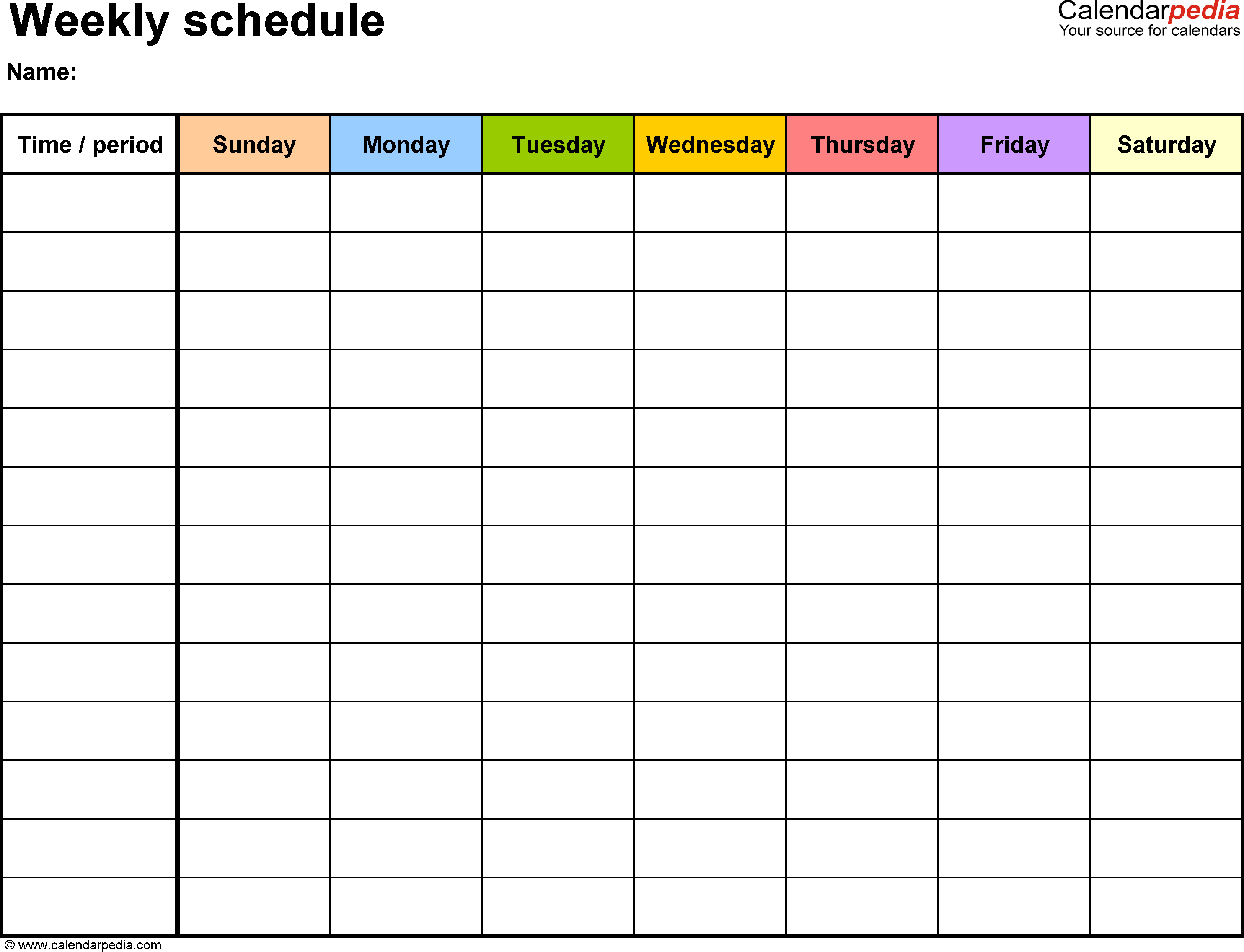 Free Weekly Schedule Templates For Word - 18 Templates - Free Printable Blank Work Schedules