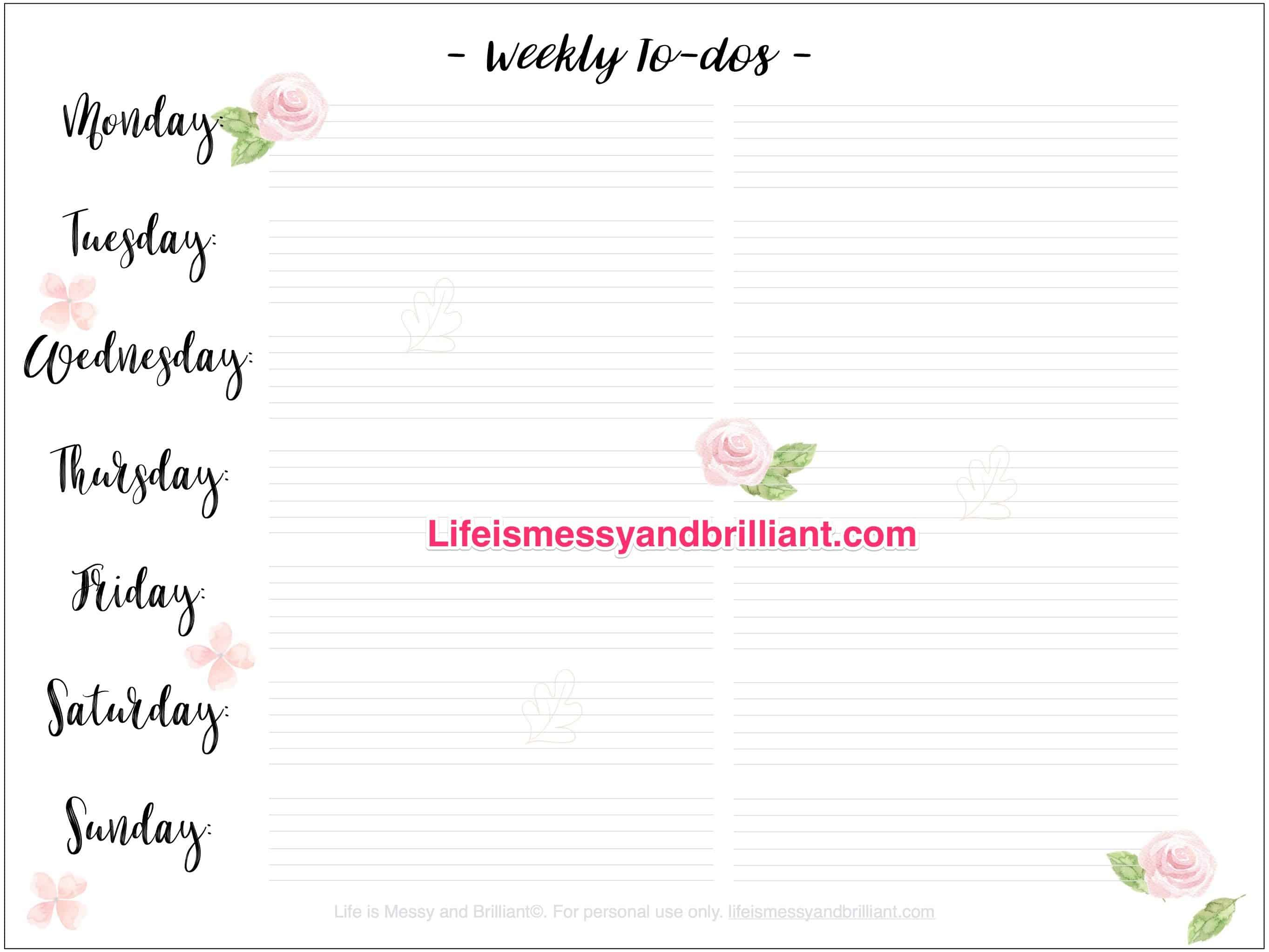 Free Weekly To-Dos Bullet Journal Printable - Free Printable Journal Templates