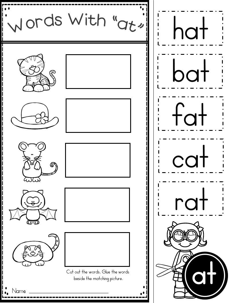 Free Word Family At Practice Printables And Activities   Kinder - Free Printable Word Family Mini Books