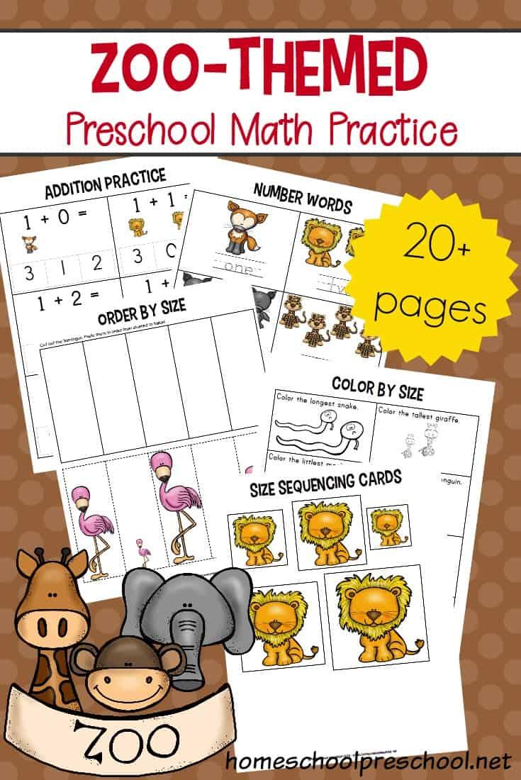 Free Zoo-Themed Preschool Math Worksheets - Free Printable Zoo Worksheets