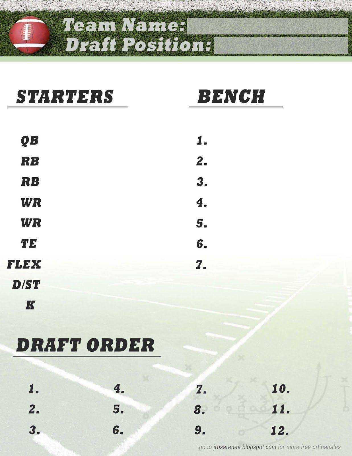 Freebie Friday, Fantasy Football Roster #free #printable | Great - Fantasy Football Draft Sheets Printable Free