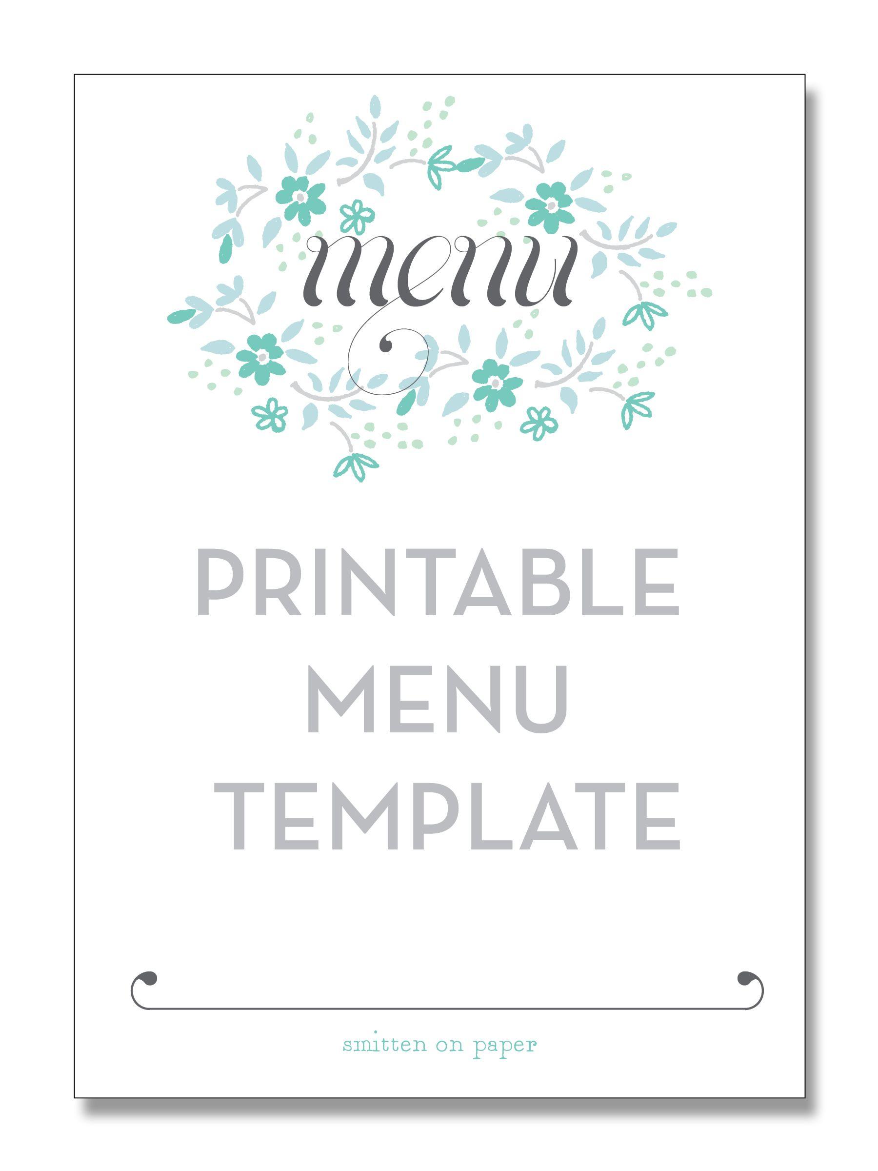 Freebie Friday: Printable Menu | Party Time! | Pinterest | Free - Design A Menu For Free Printable