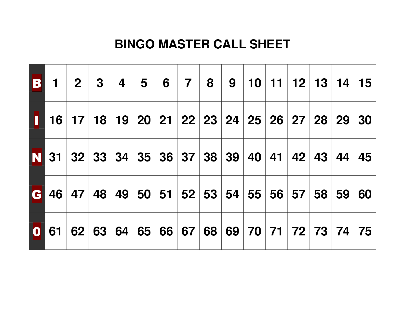 Free+Printable+Bingo+Call+Sheet | Bingo | Pinterest | Bingo, Bingo - Free Printable Bingo Cards 1 75