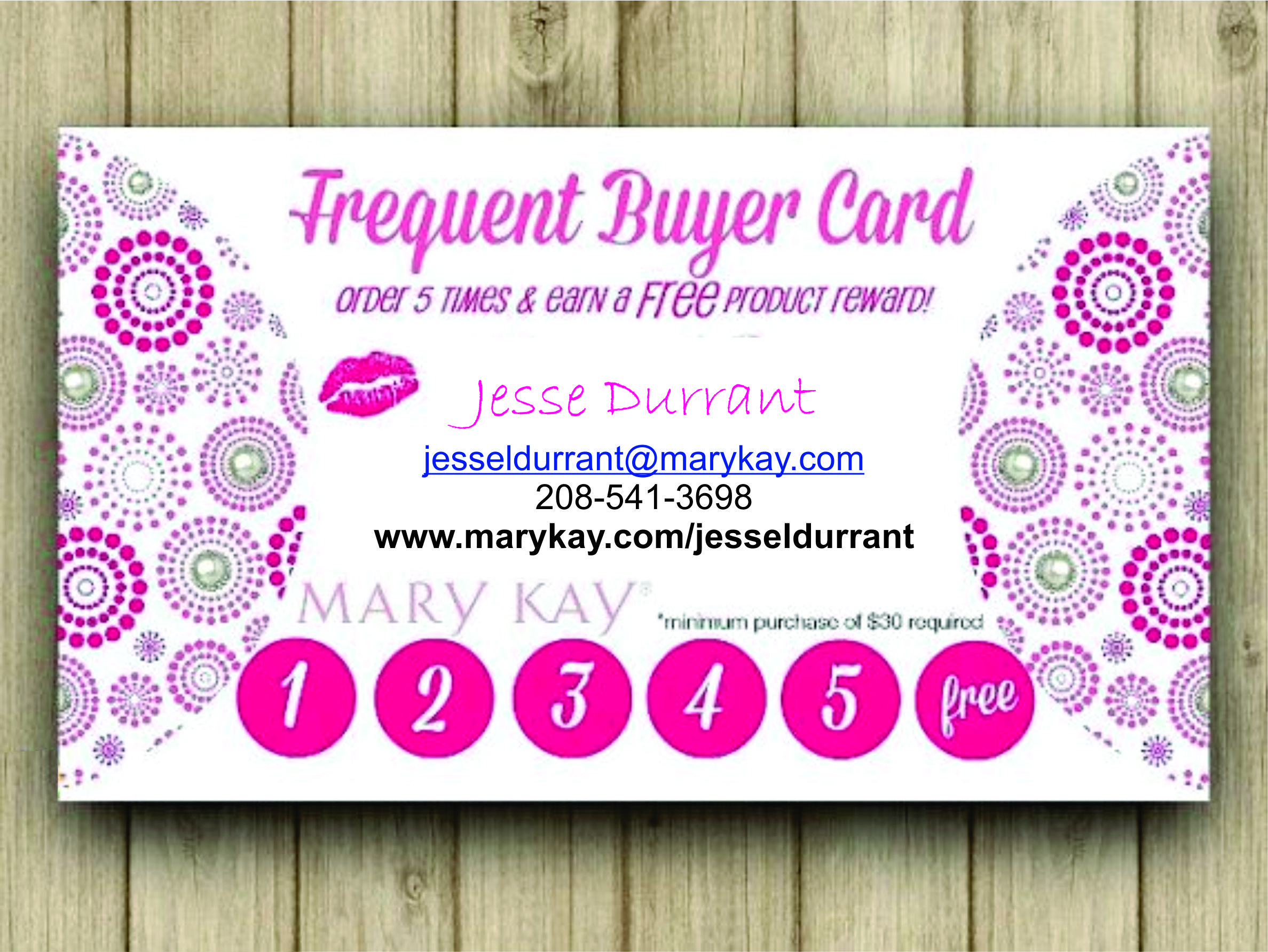 Frequent Buyer Card!!! Earn Free Product When You Register To Be A - Free Printable Mary Kay Business Cards
