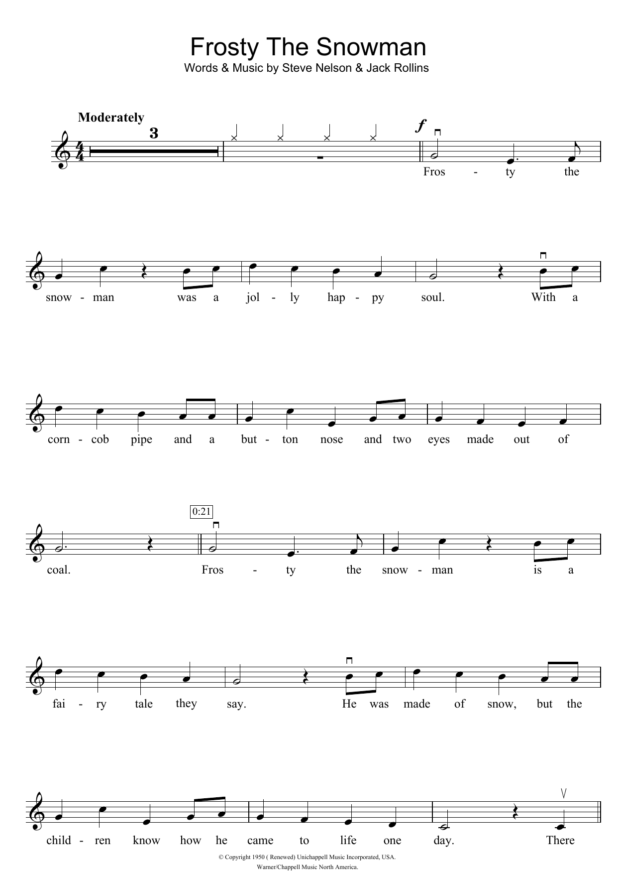 Frosty The Snowman Sheet Music | The Ronettes | Violin Solo - Free Printable Frosty The Snowman Sheet Music