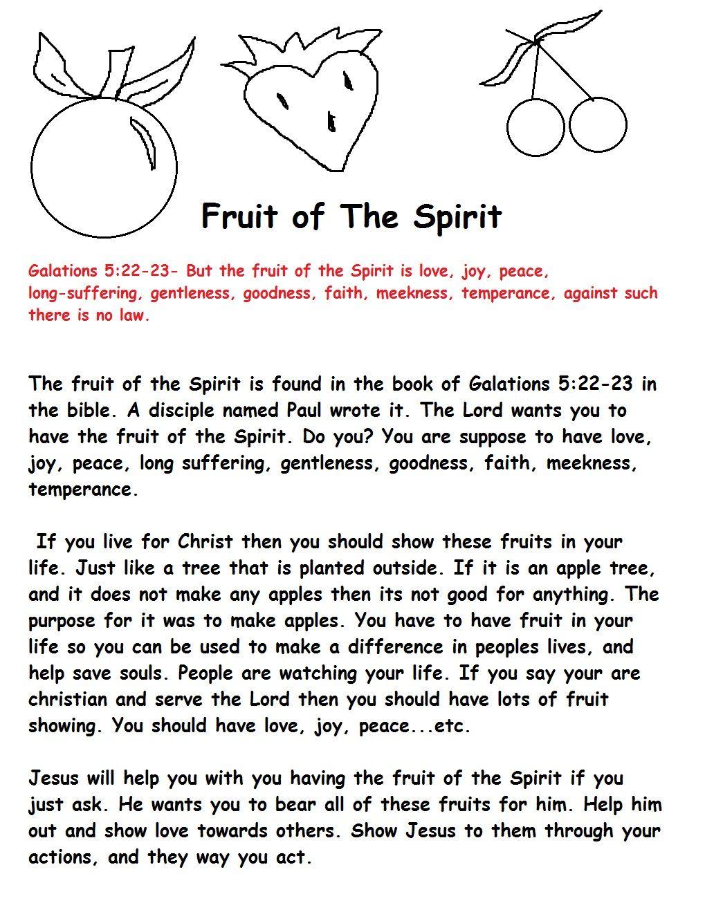 Fruit Of The Spirit For Kids | Fruit Of The Spirit Sunday School - Free Printable Sunday School Lessons For Kids