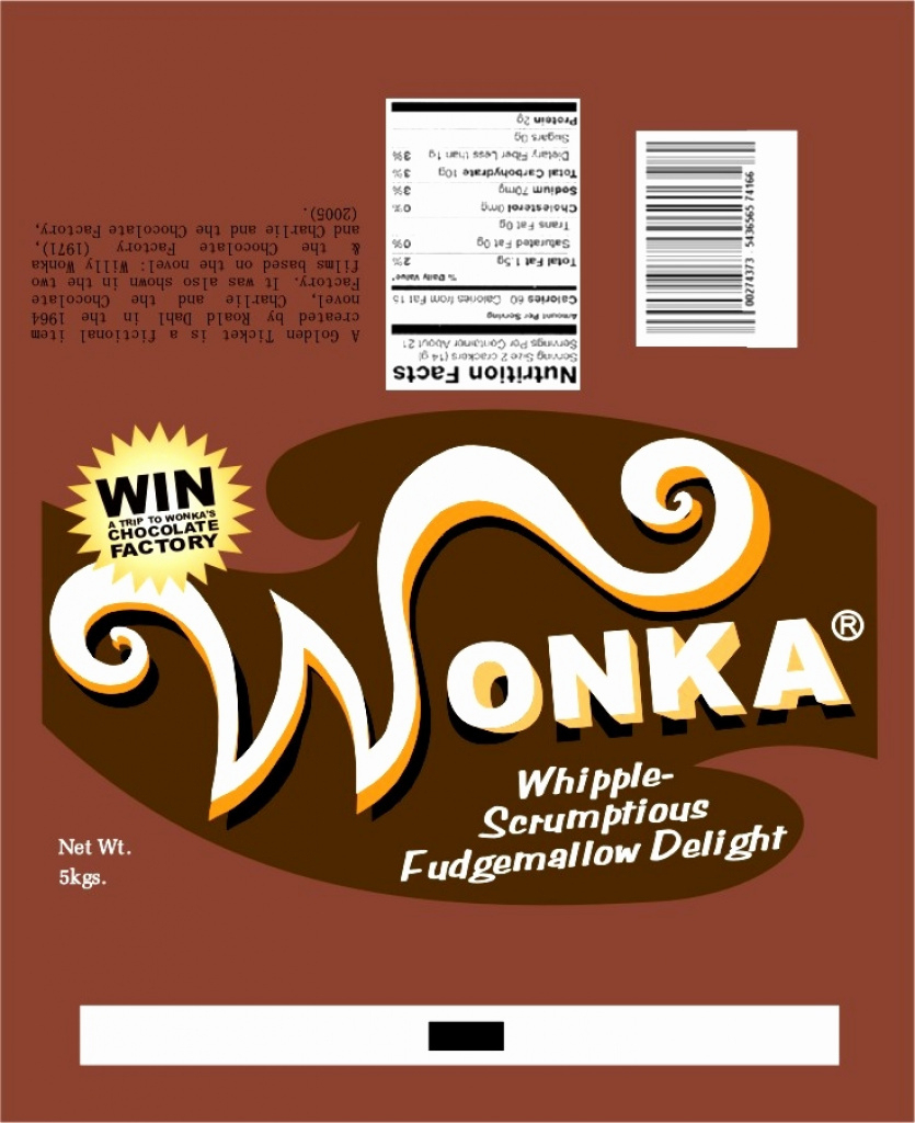 Full Size Candy Bar Wrapper Template Fresh Fein Wonka Bar Wrapper - Wonka Bar Wrapper Printable Free