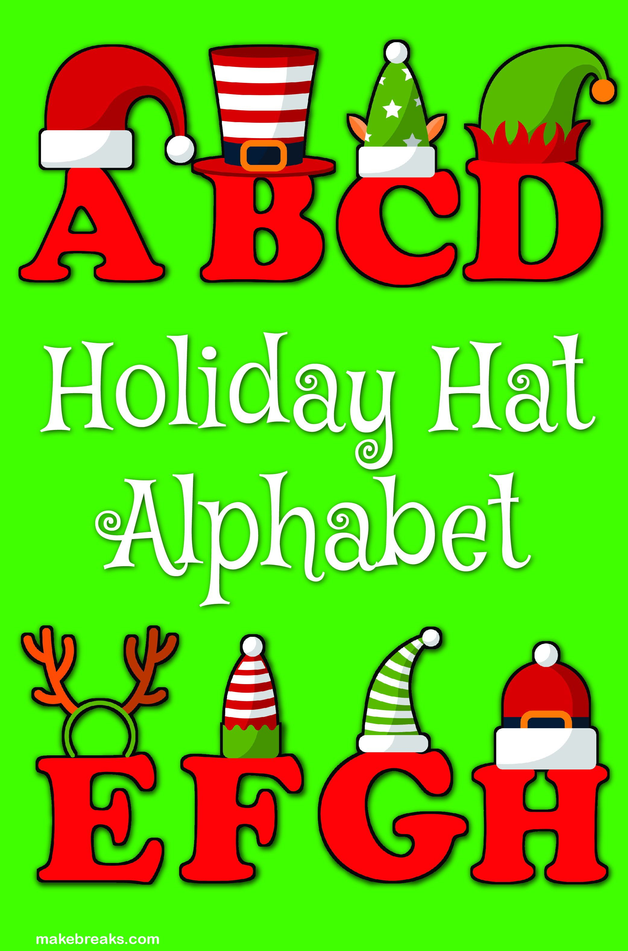 Funny Holiday Hat Christmas Alphabet Letters To Print - Free - Free Printable Christmas Alphabet