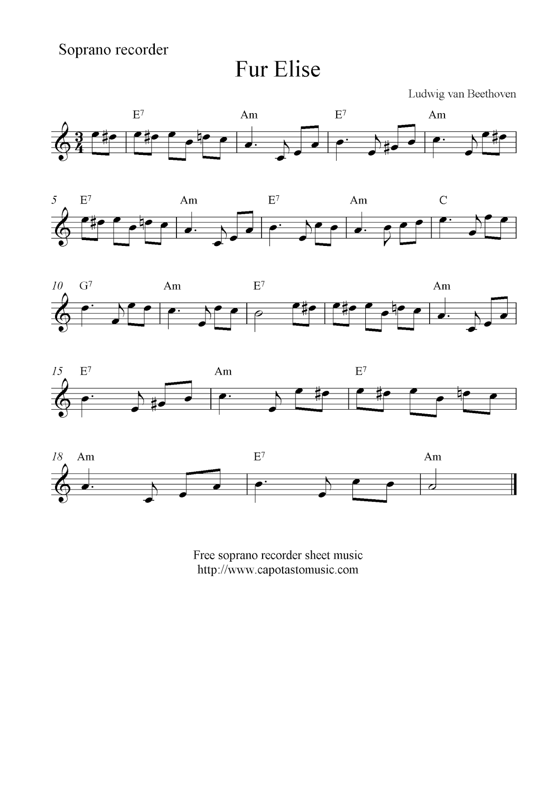 Fur Elise, Free Soprano Recorder Sheet Music Notes - Free Printable Recorder Sheet Music For Beginners