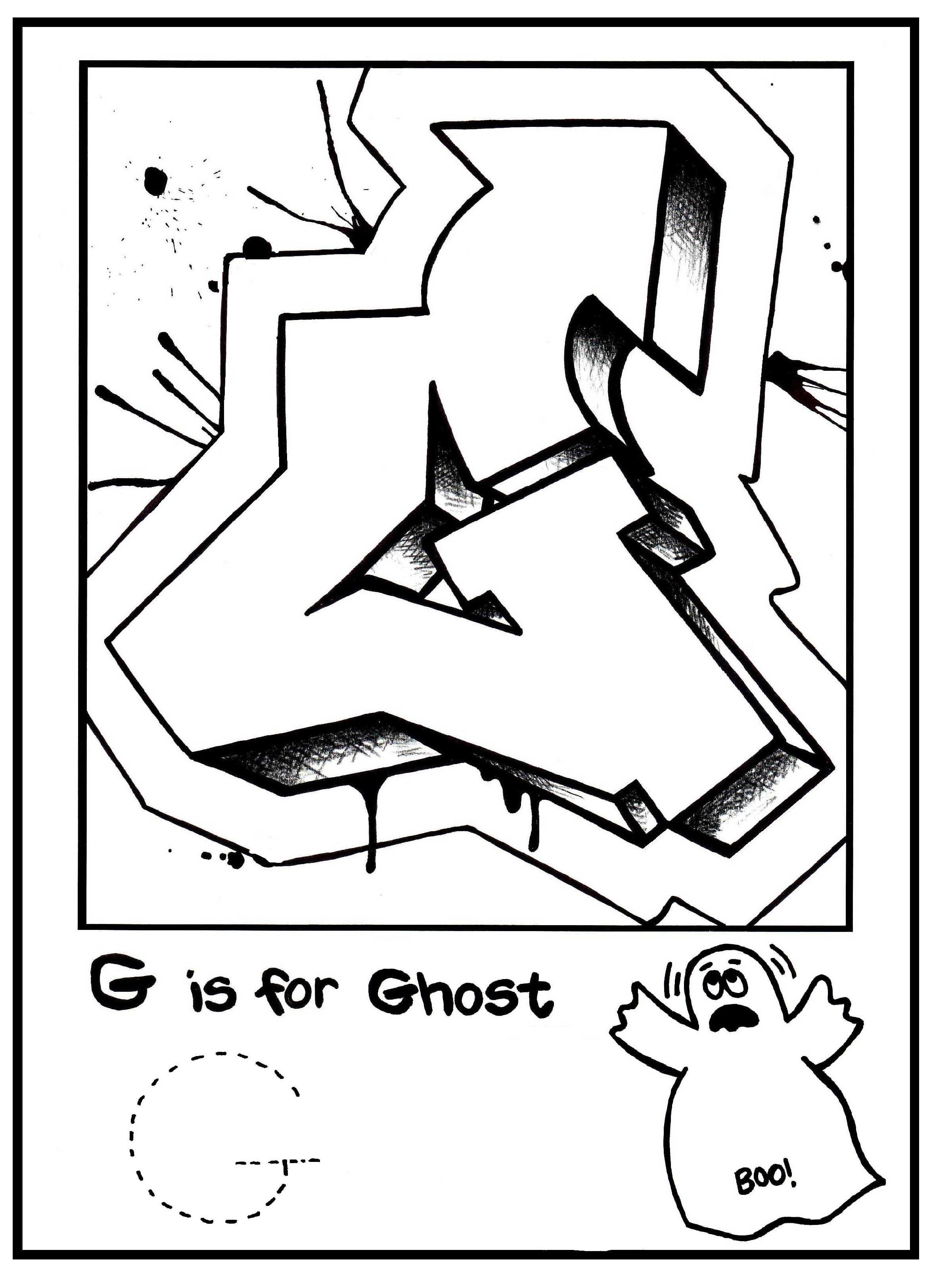 G Is For Graffiti: Alphabet Coloring Book- Free Coloring Page - Free Printable Graffiti Letters Az