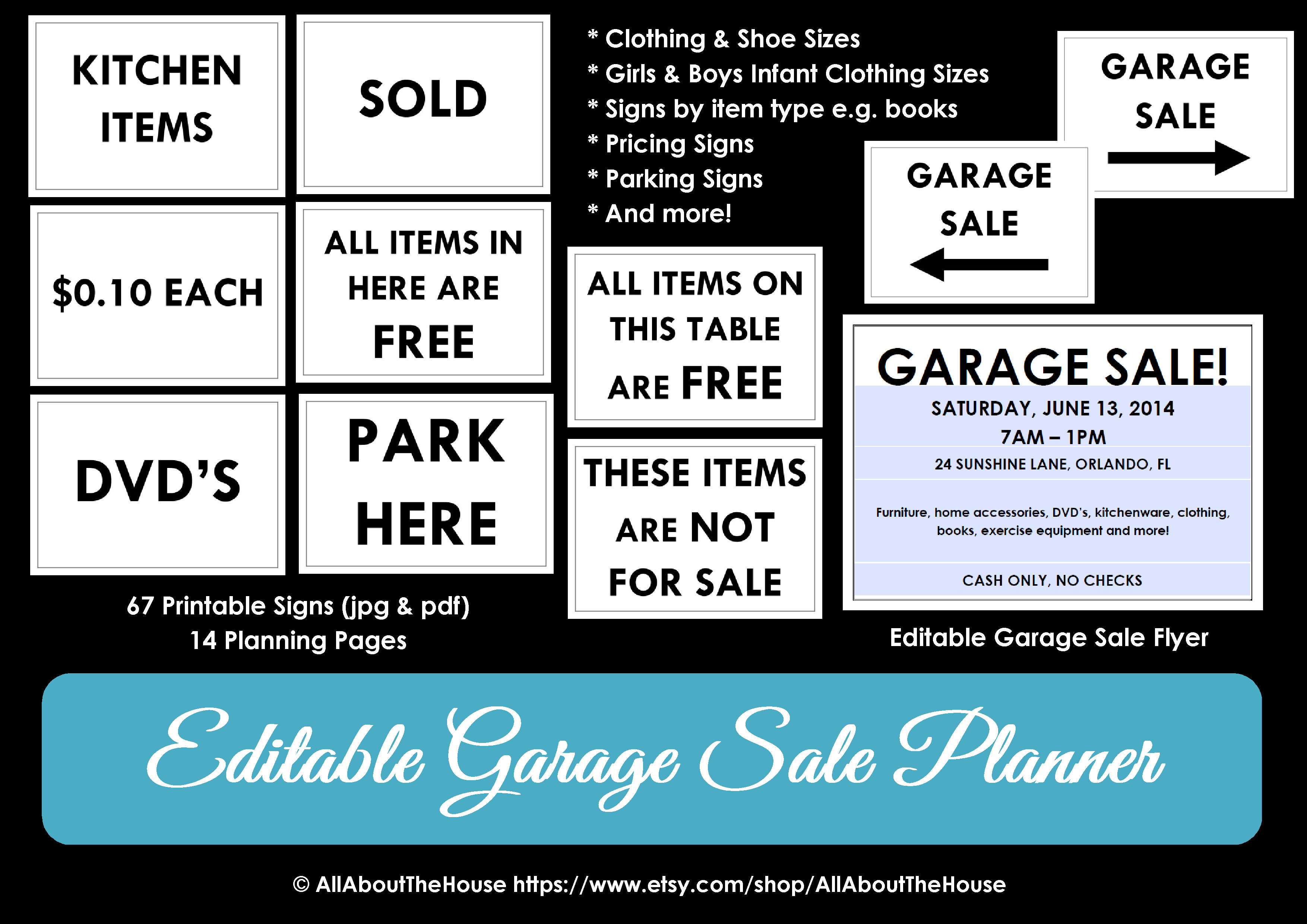 Garage Sale Planner | Allaboutthehouse Printables - Free Printable Yard Sale Signs