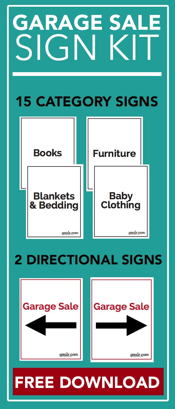 Garage Sale Sign Kit [Free Download | Information | Pinterest - Free Printable Yard Sale Signs