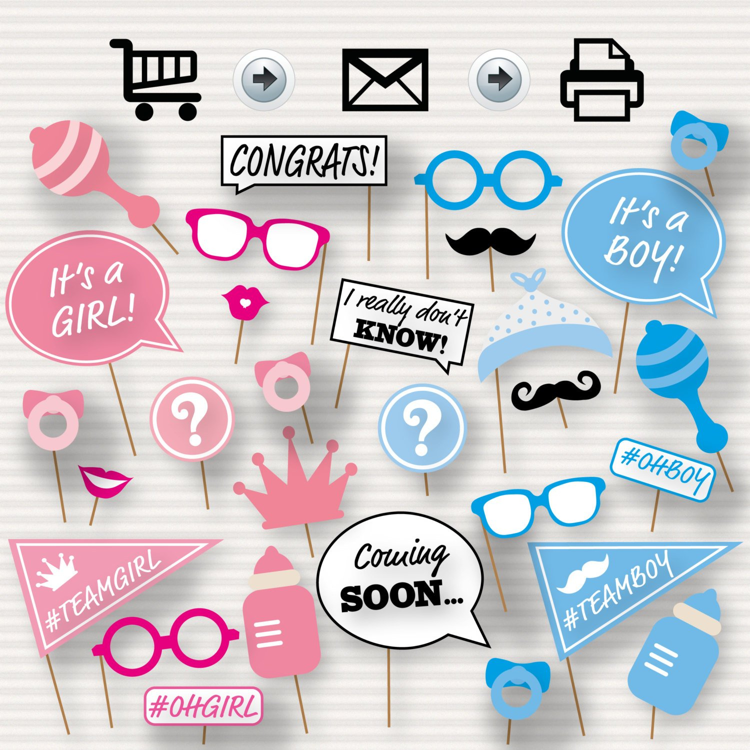 Gender Reveal Baby Shower Photo Booth Props Baby Shower Printable - Free Printable Boy Baby Shower Photo Booth Props