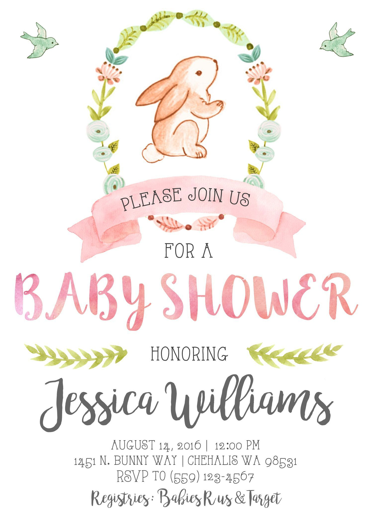 Get Free Printable Bunny Baby Shower Invitation Template | Free Baby - Free Printable Bunny Templates