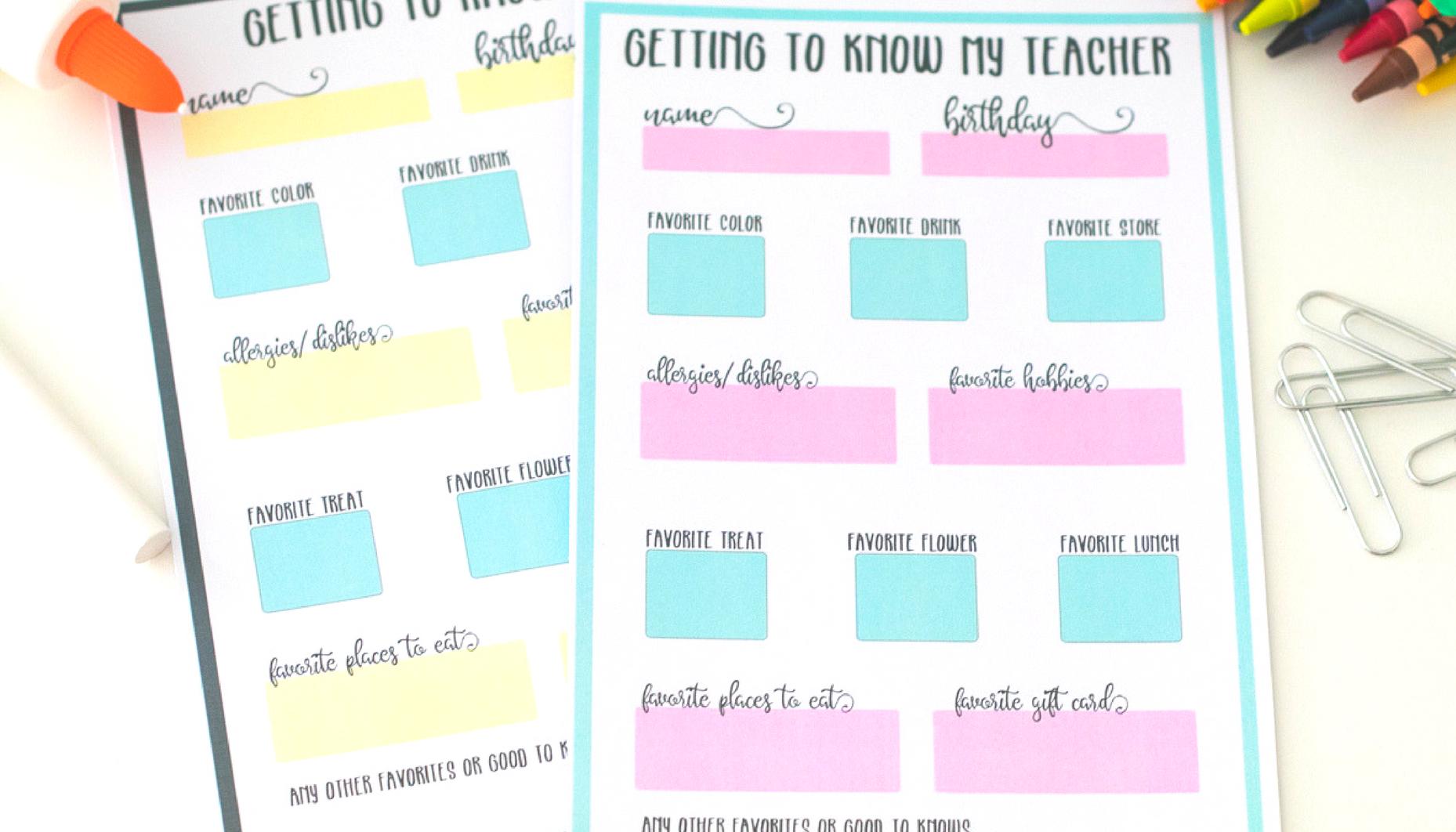 Get To Know My Teacher Free Printable Questionnaire - All About My Teacher Free Printable