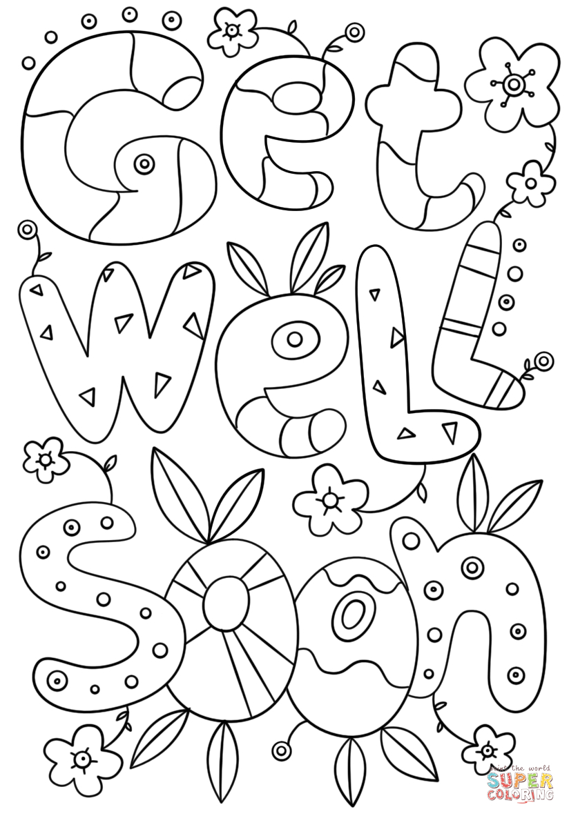 Get Well Soon Doodle Coloring Page | Free Printable Coloring Pages - Free Printable Get Well Cards To Color
