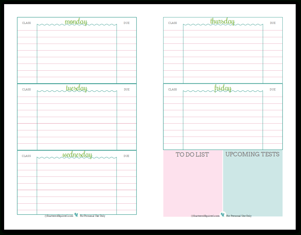 Getting Ready For Back To School - Student Planner Printables - Free Printable Academic Planner