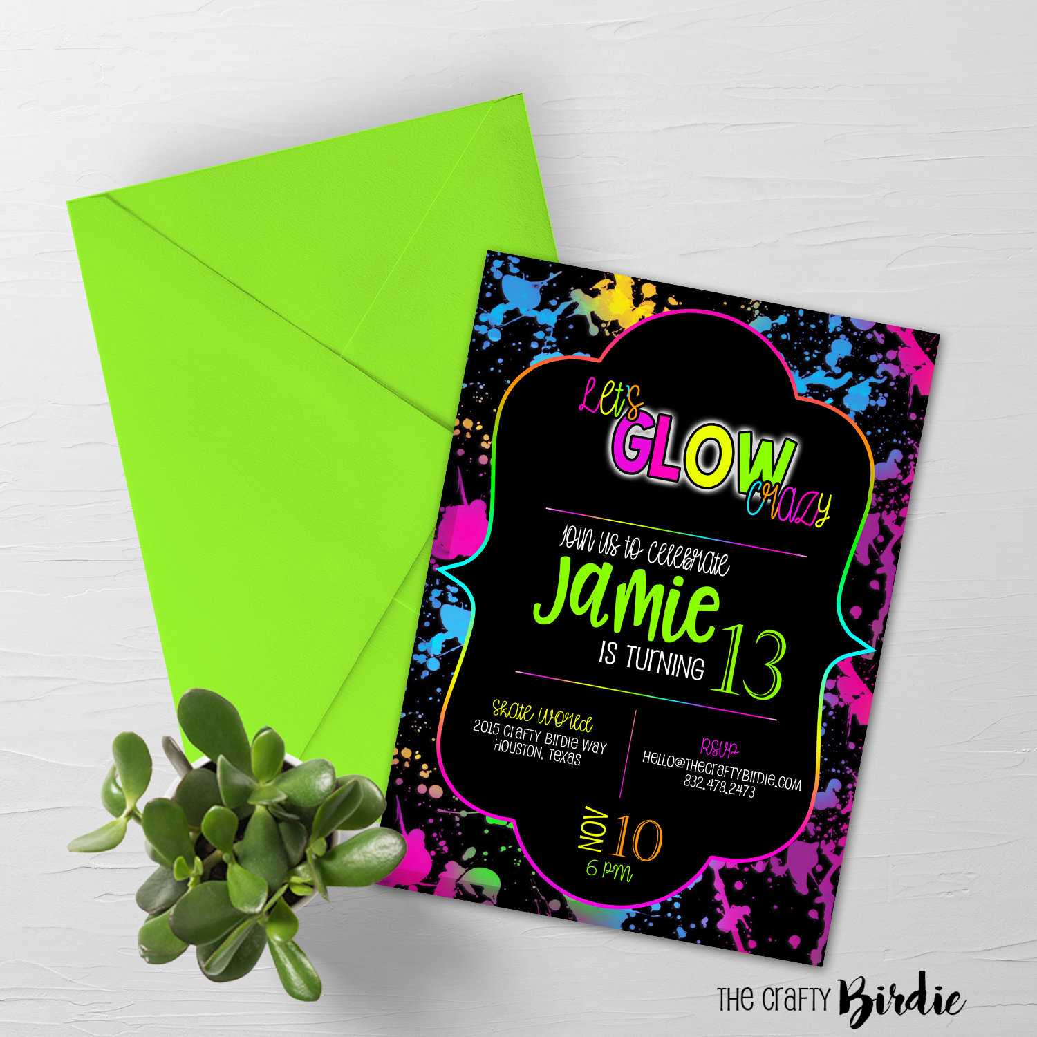 Glow Birthday Invitation Neon Glow Birthday Party Invitation | Etsy - Free Printable Glow In The Dark Birthday Party Invitations