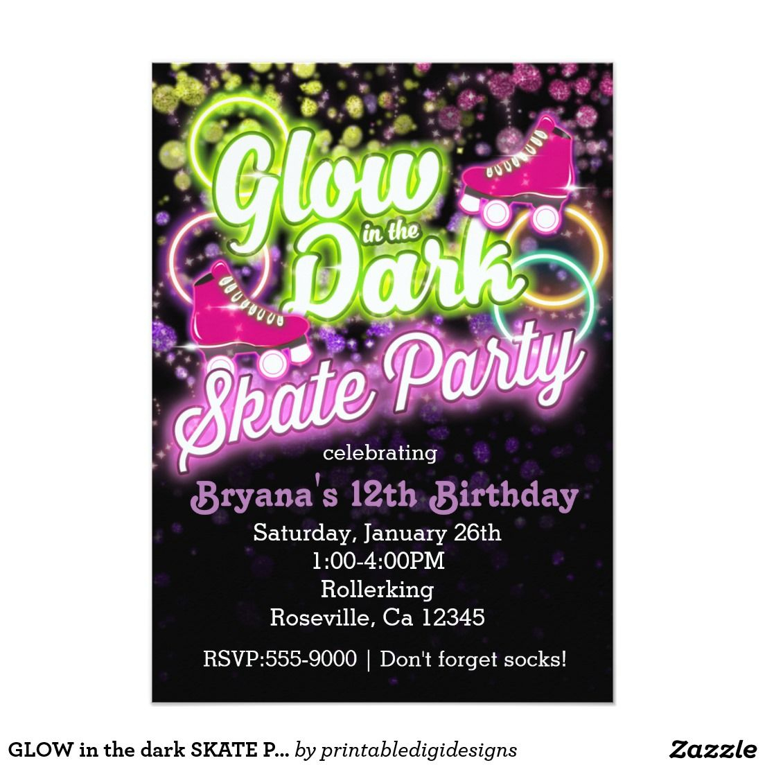Glow In The Dark Skate Party Birthday Invitation | Party Invitations - Free Printable Glow In The Dark Birthday Party Invitations