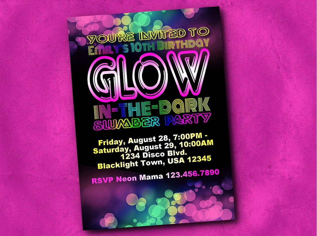 Glow Party Invite Etsy Party Invitations Black Light Party - Free Printable Glow In The Dark Birthday Party Invitations