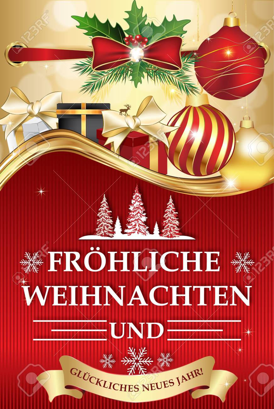Golden Red Greeting Card For Winter Season With Text In German - Free Printable German Christmas Cards
