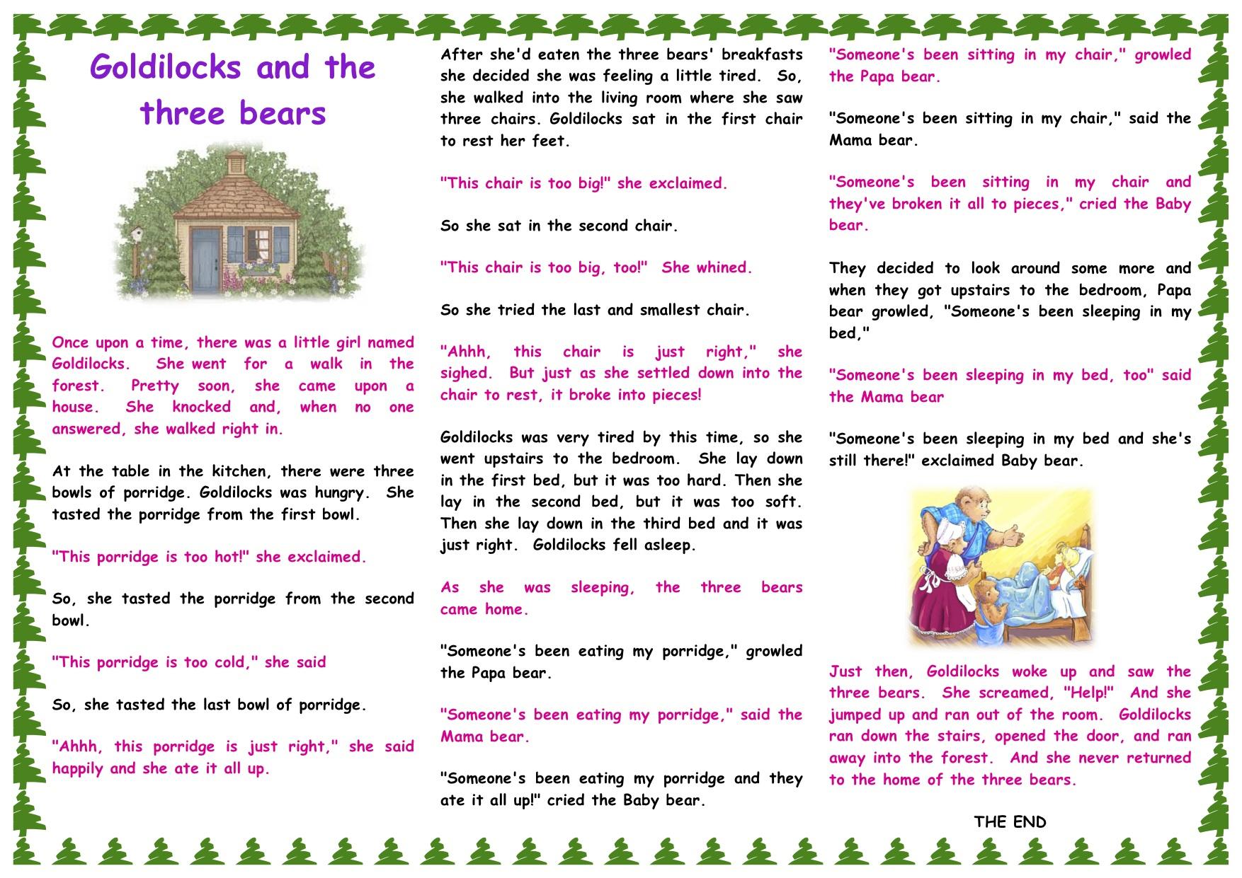 Goldilocks And The Three Bears Story Printable - Free Printable Goldilocks And The Three Bears Story