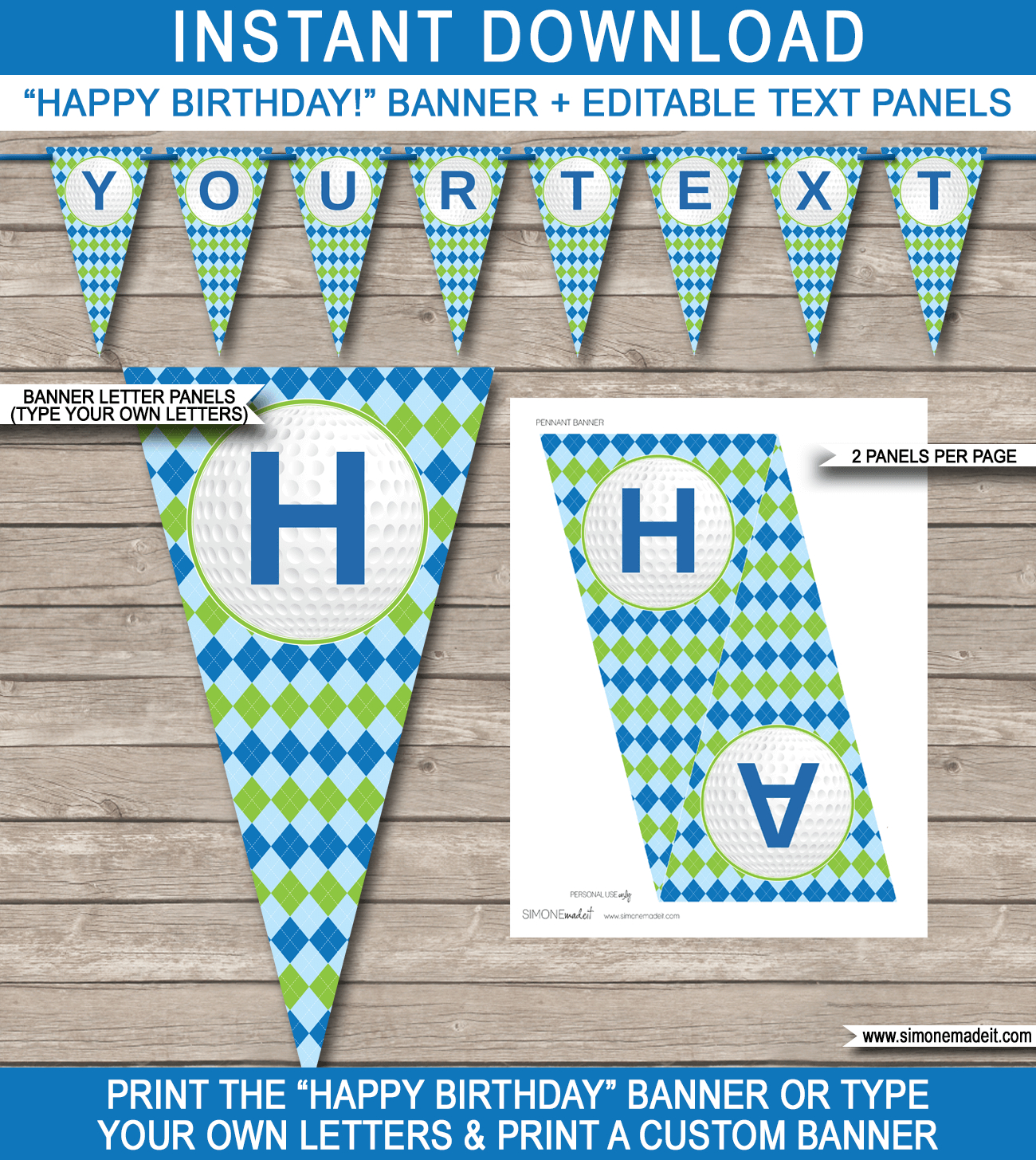 Golf Party Banner Template | Happy Birthday Banner | Editable Bunting - Birthday Banner Templates Free Printable