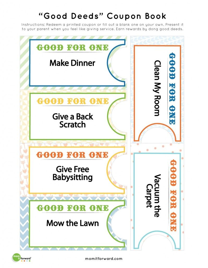 Good Deed Coupon Book Printables | Nothing But Printables - Create Your Own Coupon Free Printable