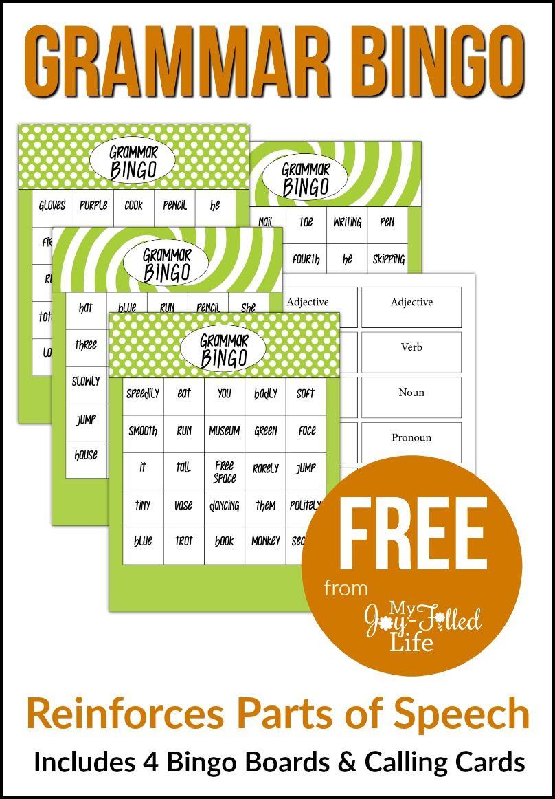 Grammar Bingo - Free Printable   Must Follow Faith & Family Bloggers - Free Printable Parts Of Speech Bingo