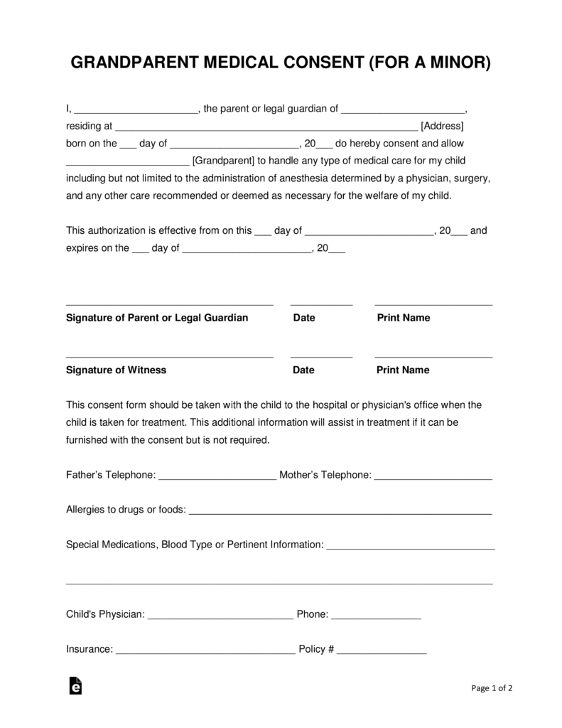Grandparents' Medical Consent Form – Minor (Child) | Eforms – Free - Free Printable Medical Consent Form