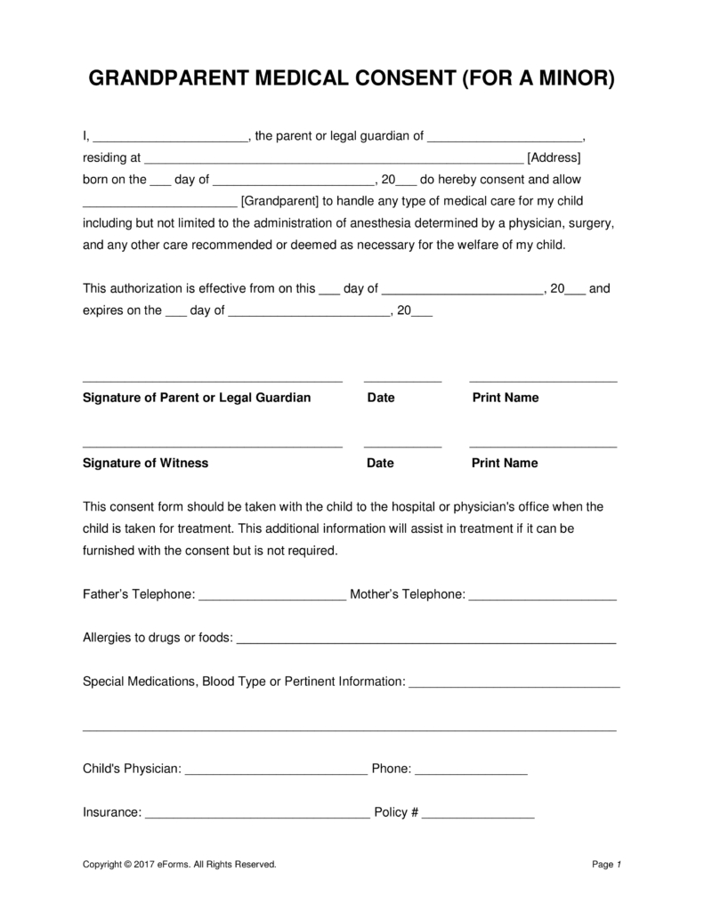 Grandparents' Medical Consent Form – Minor (Child) | Eforms – Free - Free Printable Medical Forms Kit