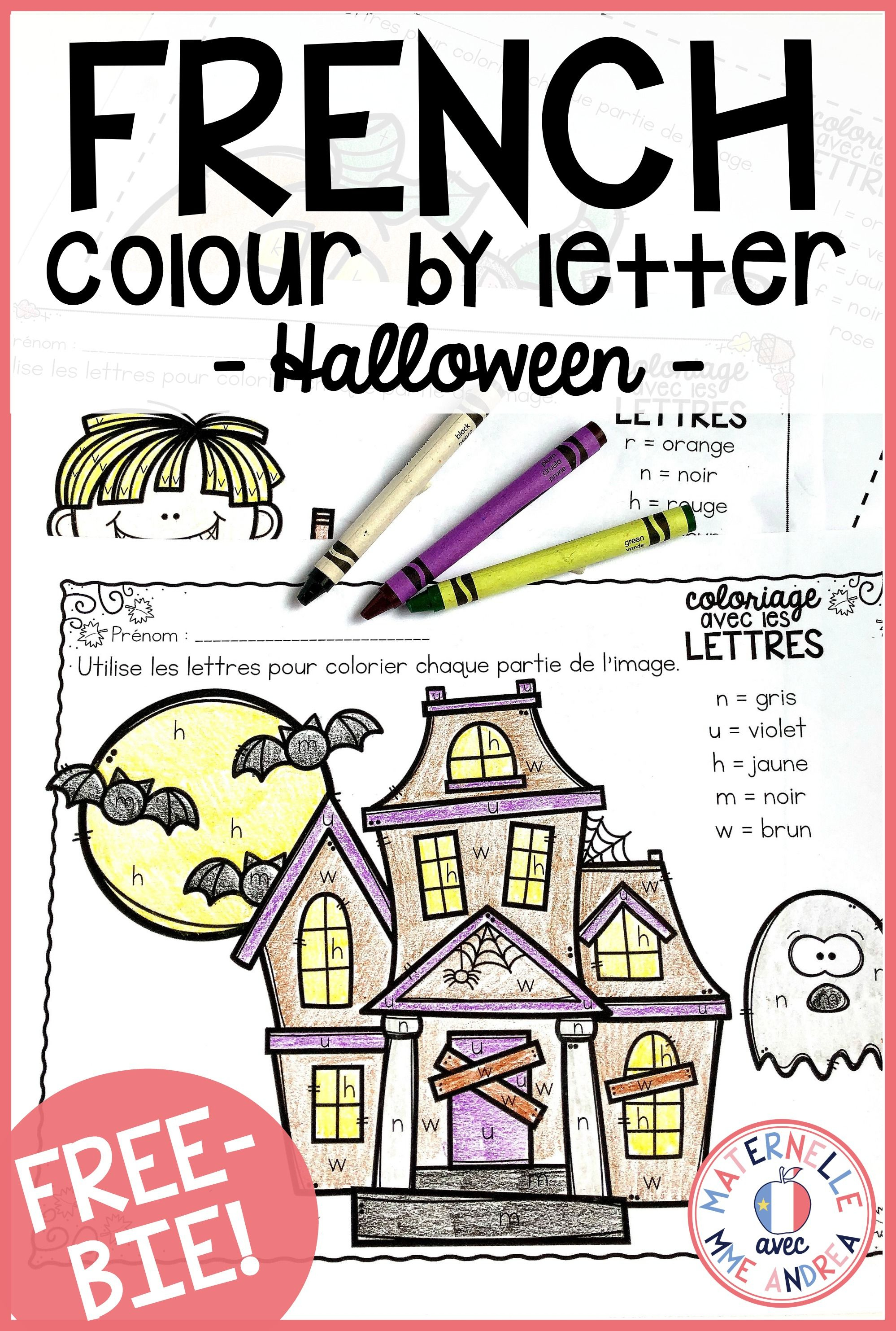 Gratuit! Free French Fall/halloween Colourletter Sheets | France - Free Printable French Halloween Worksheets