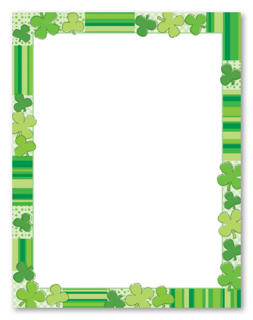 Green Clovers Stationery Letterhead Myexpression, 9104 For Free - Free Printable St Patricks Day Stationery