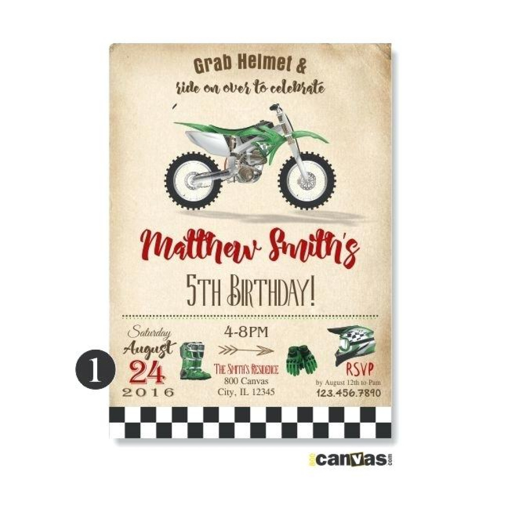 Green Dirt Bike Birthday Invitation Invitations Free – Iamflake.pro - Motorcycle Invitations Free Printable