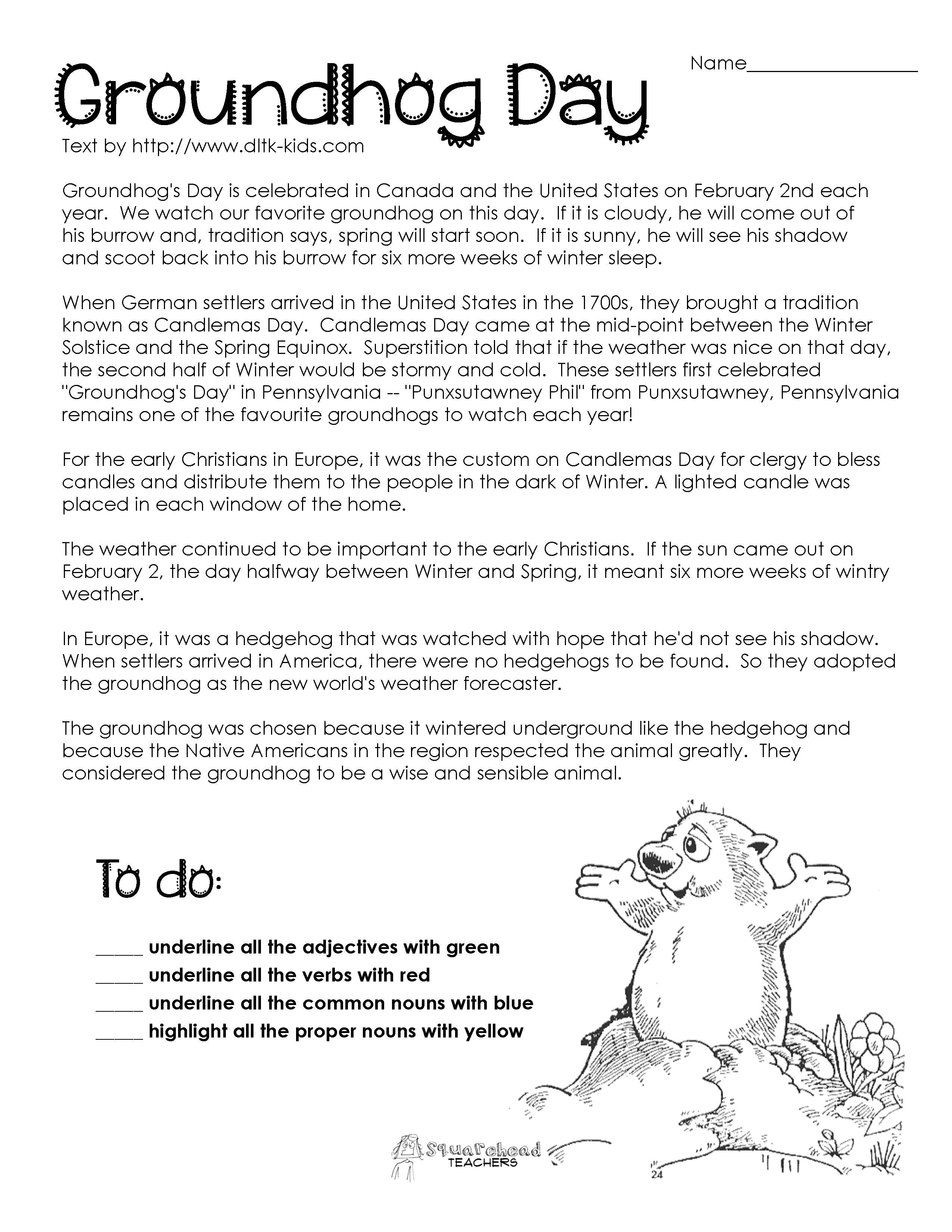 Groundhog Day Comprehension Worksheets - Google Search | Ground Hog - Free Printable Groundhog Day Reading Comprehension Worksheets