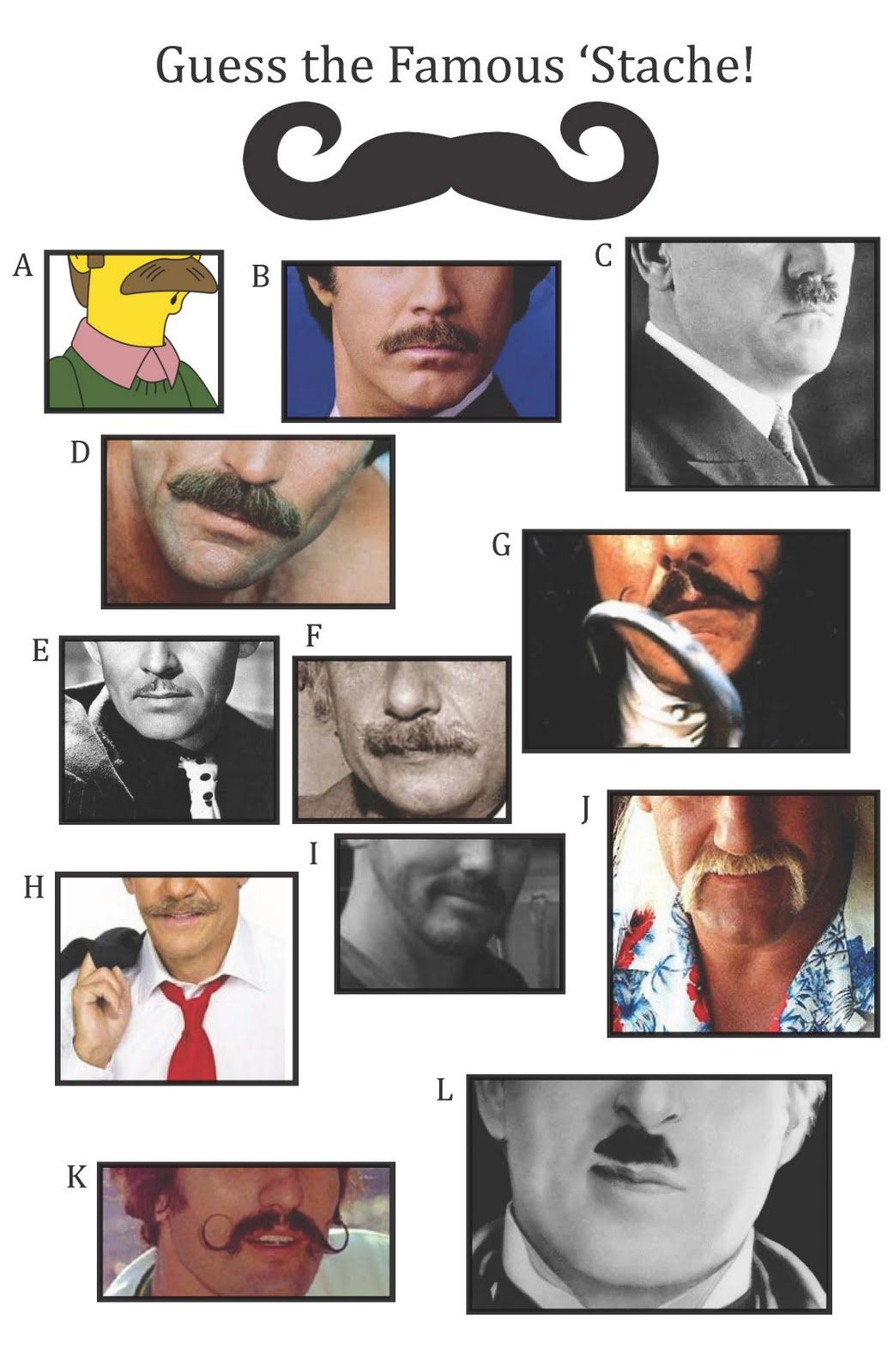 Guess The Famous 'stache ~ For The Mustache Match Game | Let's Get - Name That Mustache Game Printable Free