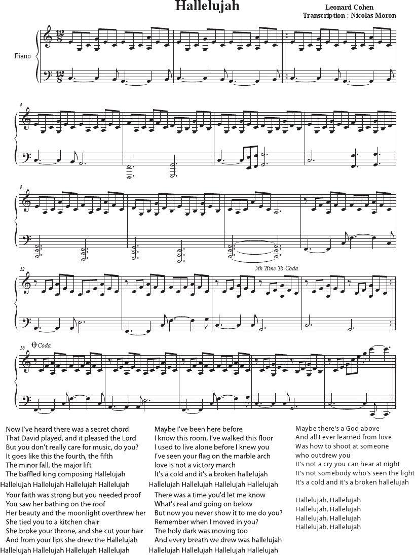 Hallelujah Piano Sheet Music | 악보 | Pinterest | Piano Sheet Music - Free Printable Piano Sheet Music For Hallelujah By Leonard Cohen