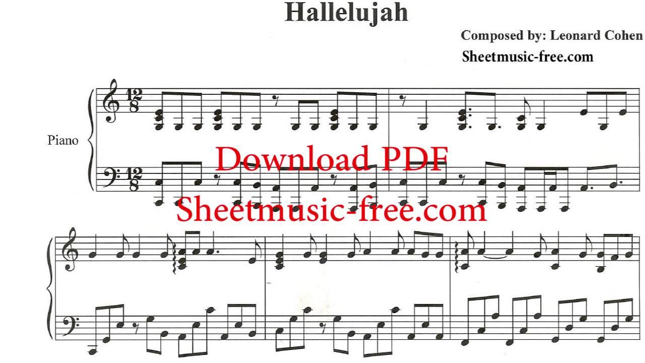 Hallelujah Piano Sheet Music Leonard Cohen - Youtube - Free Printable Piano Sheet Music For Hallelujah By Leonard Cohen