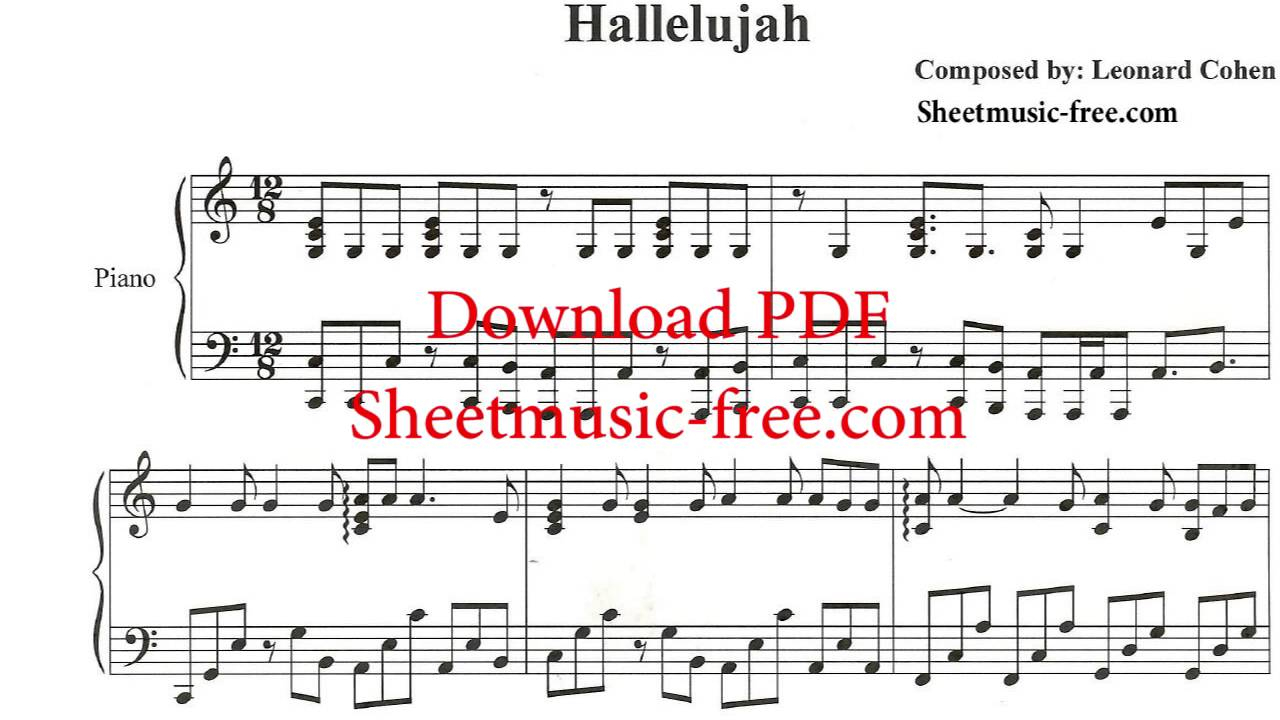 Hallelujah Piano Sheet Music Leonard Cohen - Youtube - Hallelujah Piano Sheet Music Free Printable