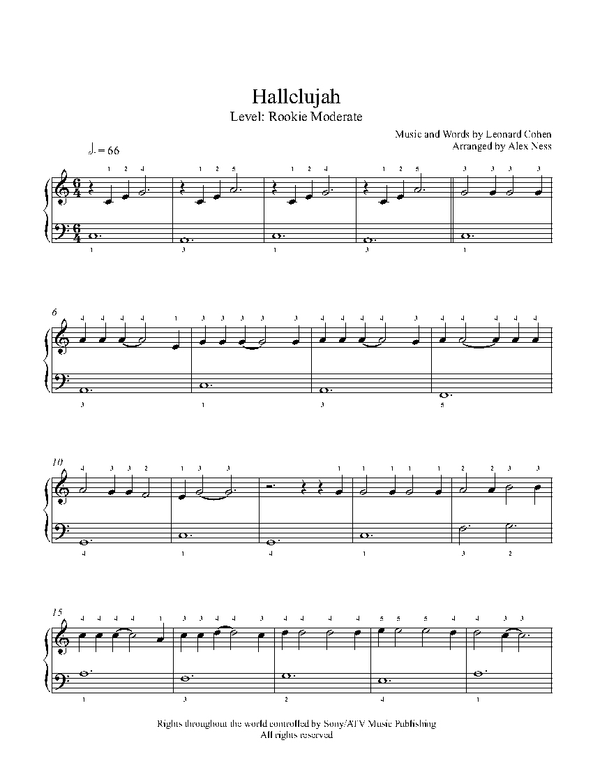 Hallelujahjeff Buckley Piano Sheet Music | Rookie Level - Hallelujah Piano Sheet Music Free Printable