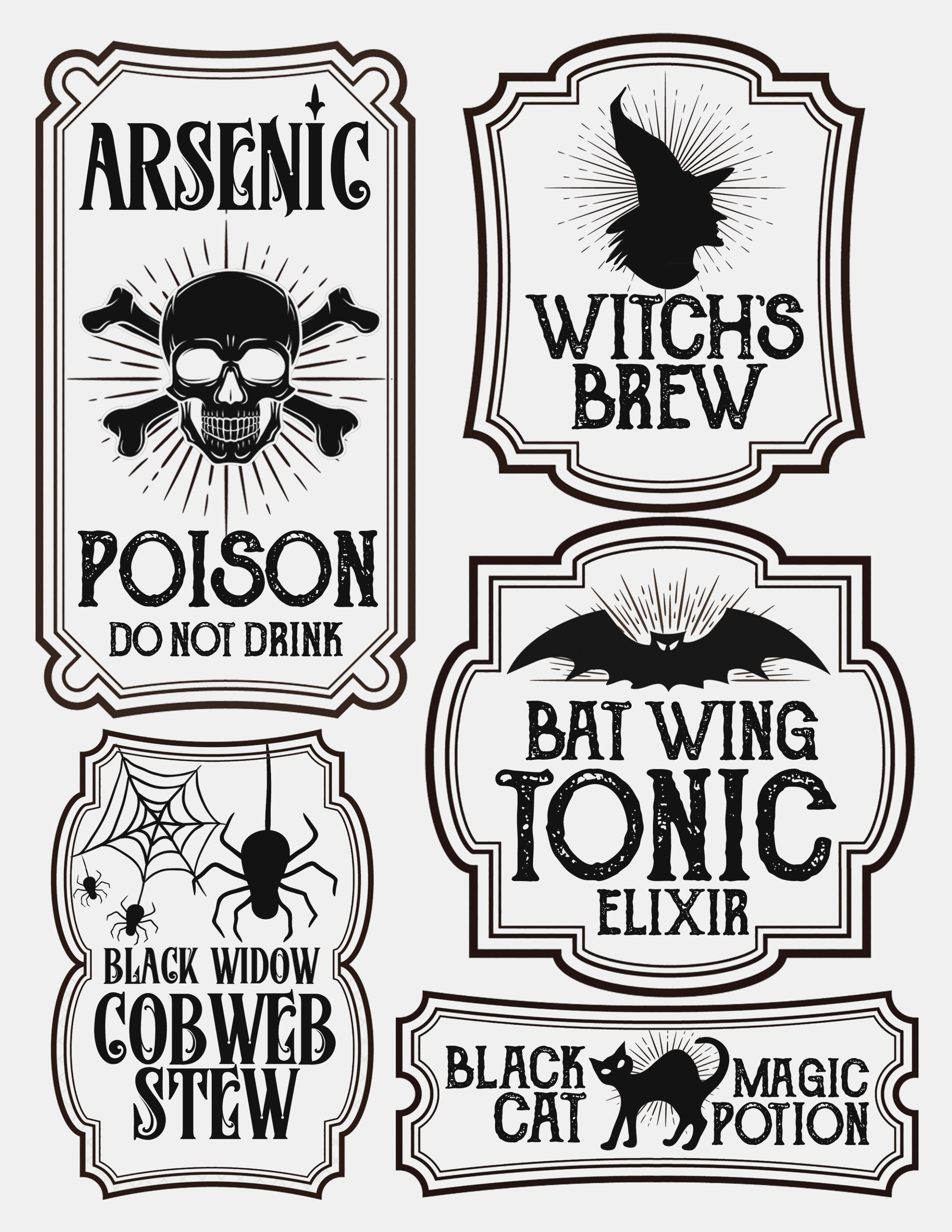 Halloween Bottle Labels – Free Printables – Potions Labels – Poison - Free Printable Potion Labels