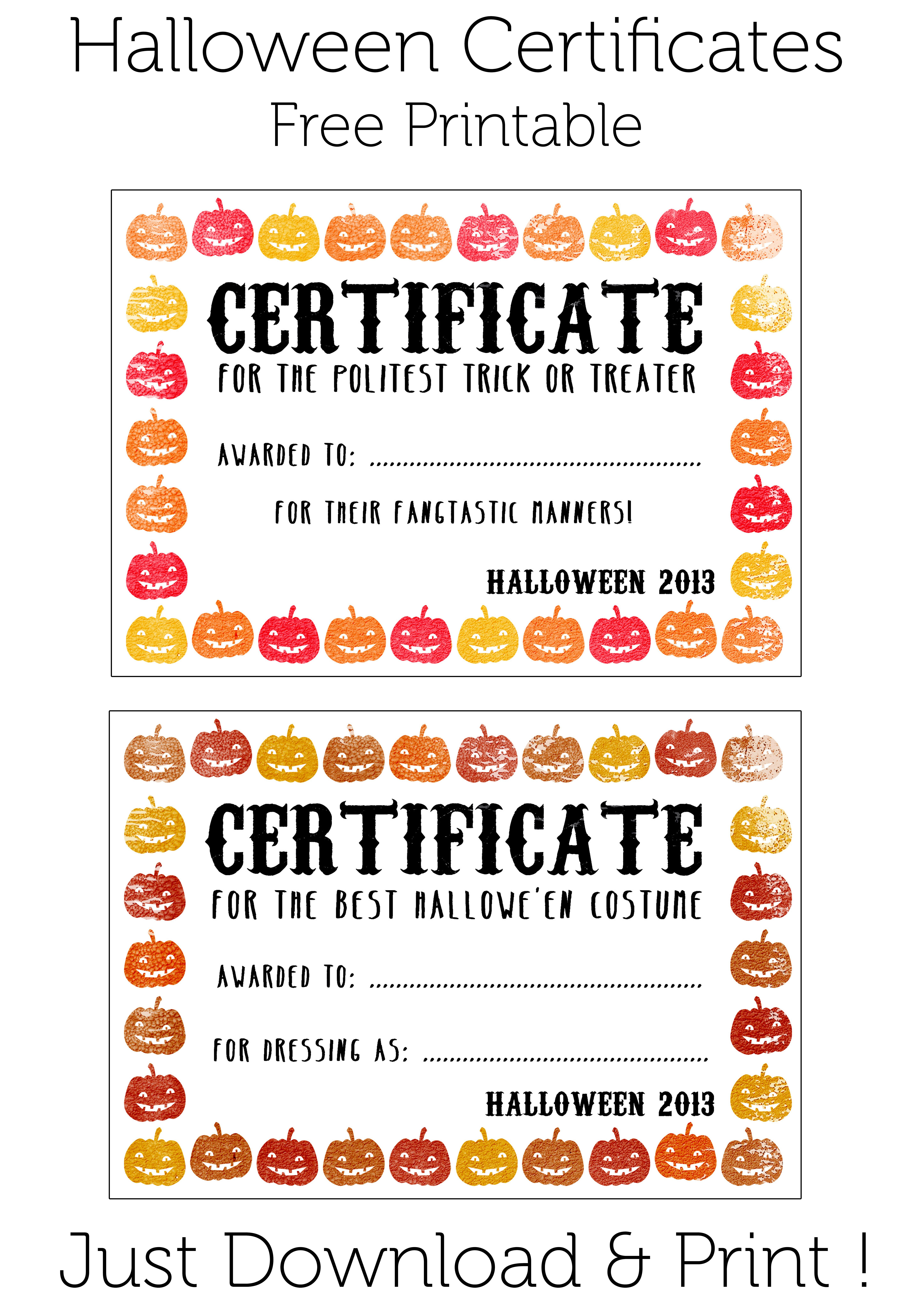 Halloween Certificates ! Give Them Out To Trick O' Treaters As Well - Free Printable Halloween Award Certificates