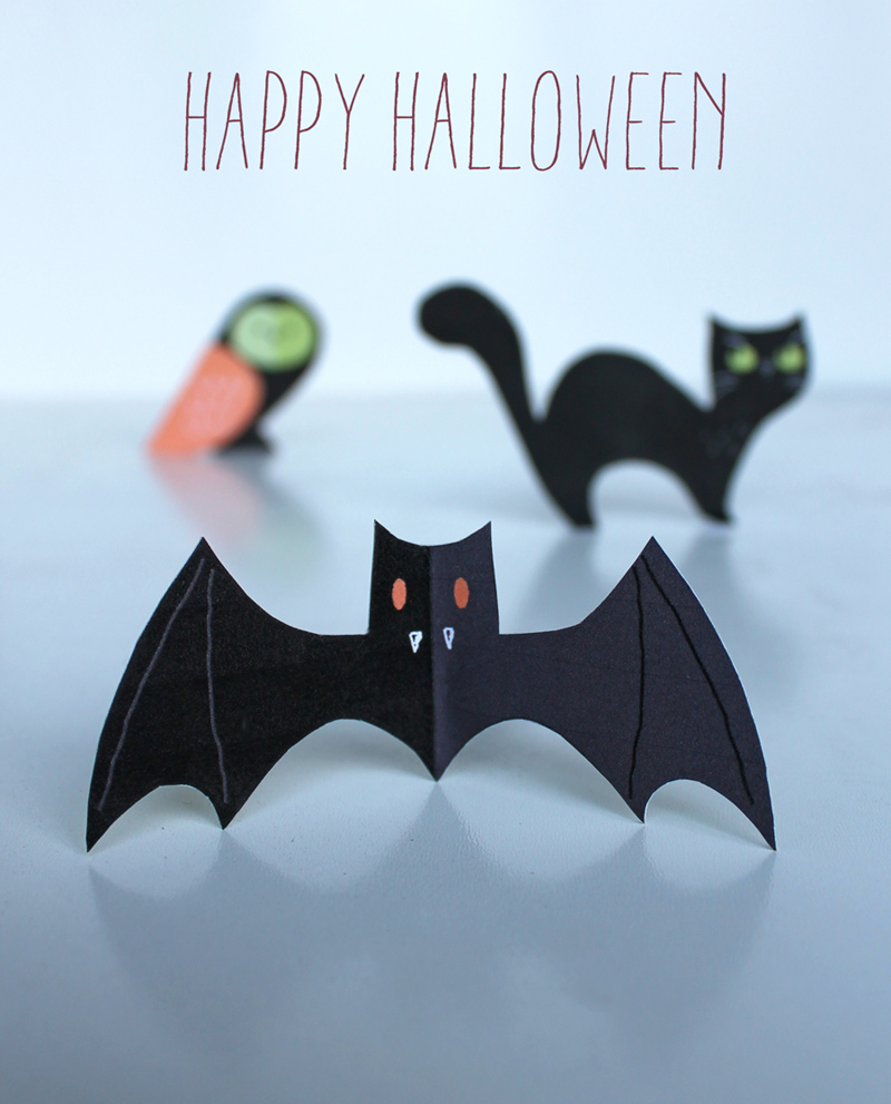 Halloween Craft Menagerie - Free Cute Cats, Owls & Bats! - Free Printable Halloween Paper Crafts