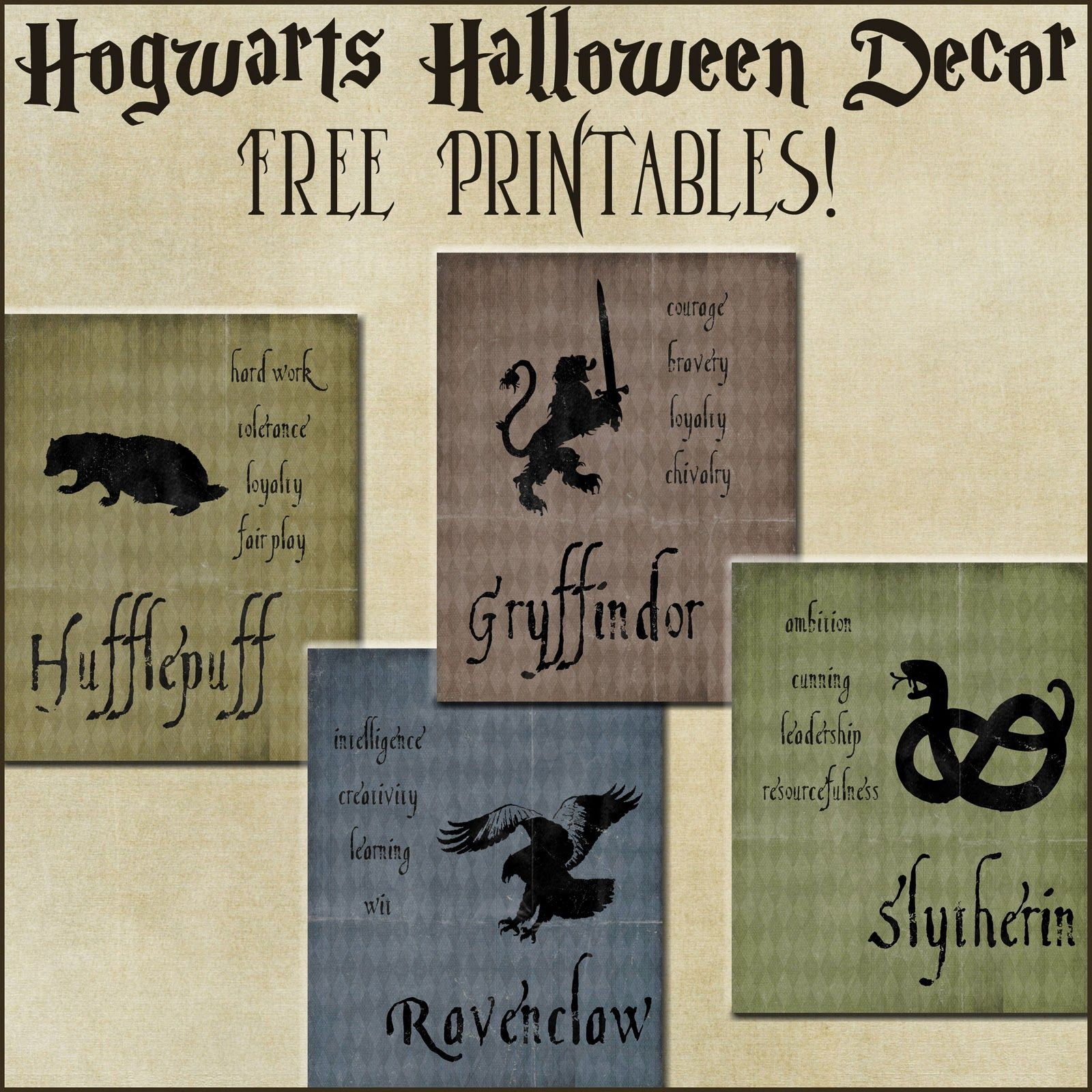 Halloween Decor: Harry Potter House Posters | Harry Potter Party - Free Printable Harry Potter Posters