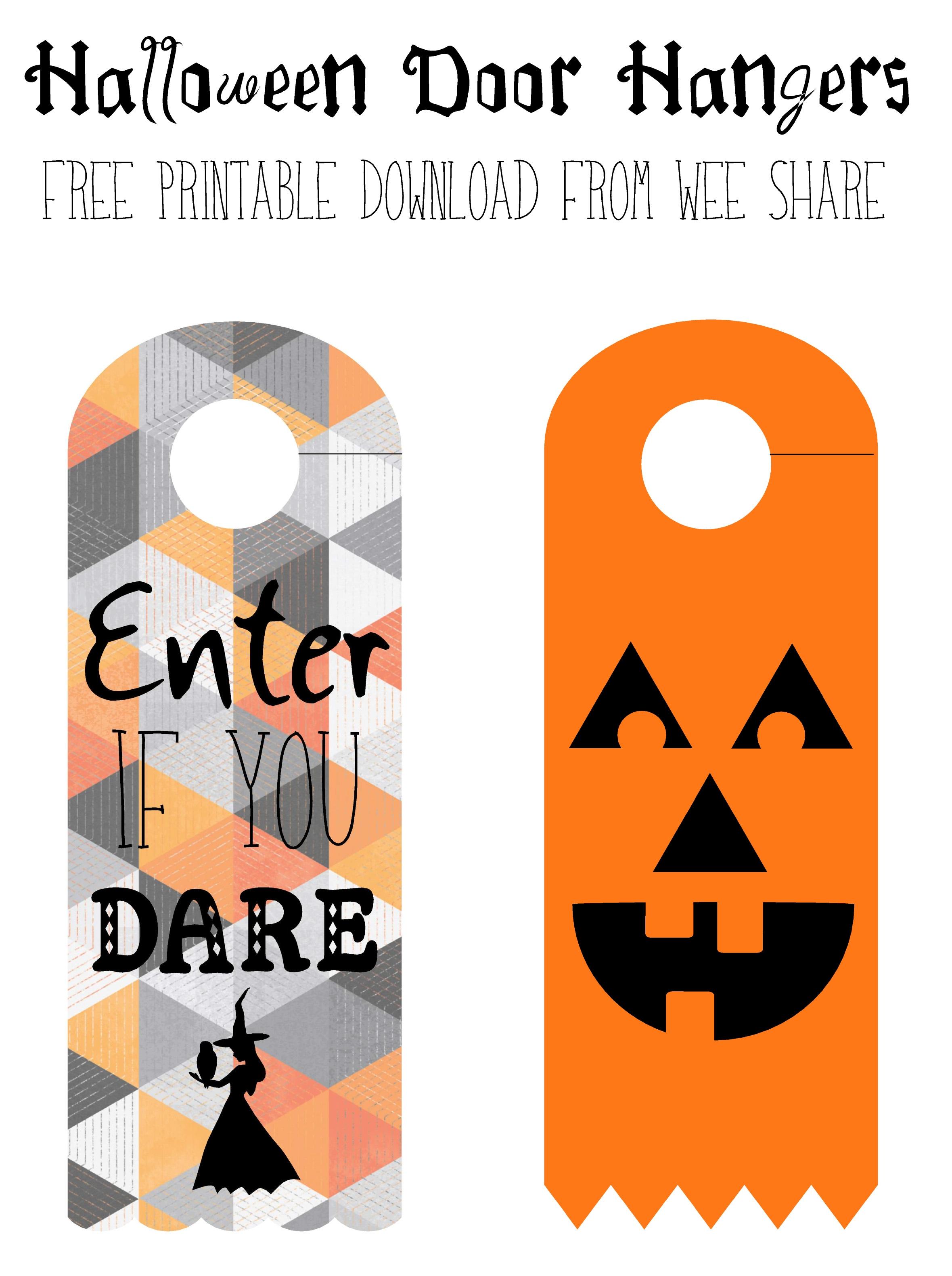 Halloween Door Knob Hanger Template Printable Halloween Door Hangers - Halloween Door Hangers Free Printable