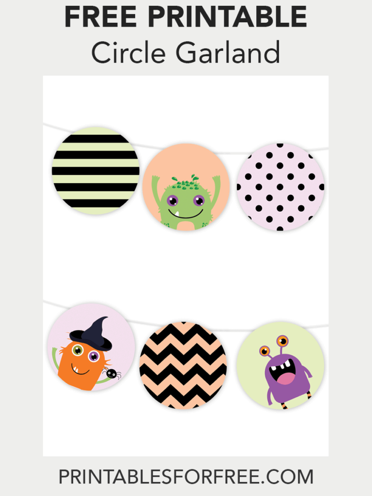 Halloween Monster Printable Garland | Free Party Printables - Free Printable Halloween Place Cards